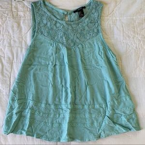 Sky blue swing tank with lace collar detail